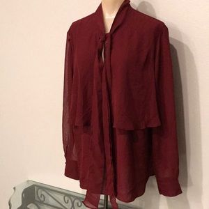 Cato burgundy ruffle neck tie blouse XL